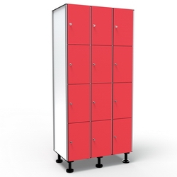 Locker 4 Doors 3 Modules - Red