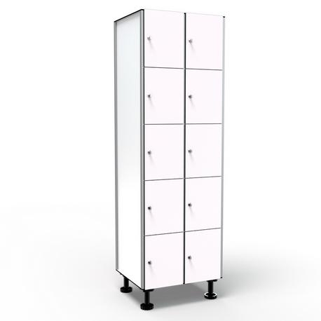 Locker 5 Doors 2 Modules - White