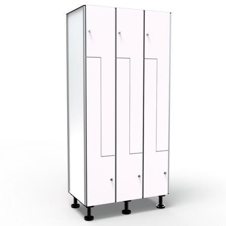 Locker 6 Doors in L - White