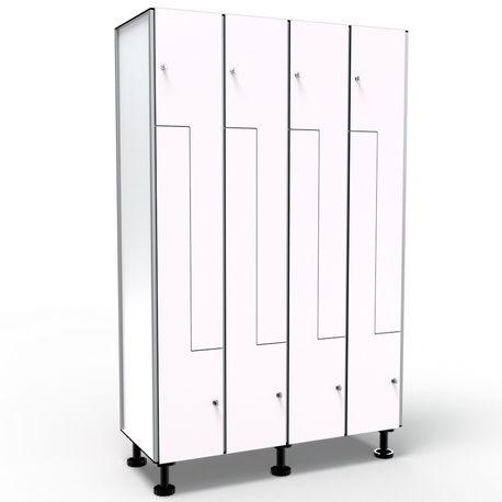 Locker 8 Doors in L - White
